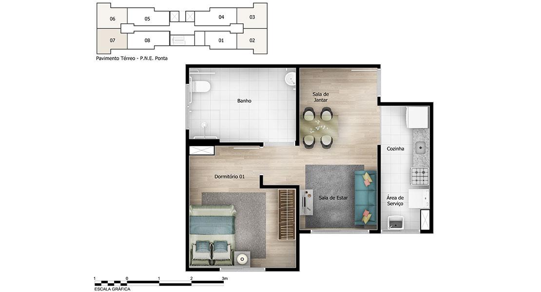 Planta de apartamento em Mirari | São Paulo | SP | planta 1 | tenda.com