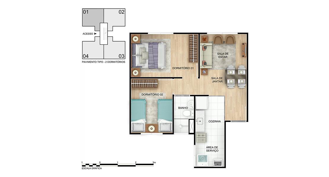Planta de apartamento em Vila Romana   Camaçari   BA   planta 1   tenda.com