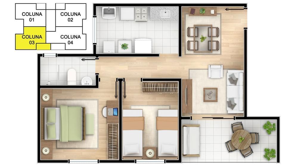 Planta baixa do Residencial Mondrian Life Apartamento Minha Casa Minha Vida | Tenda.com