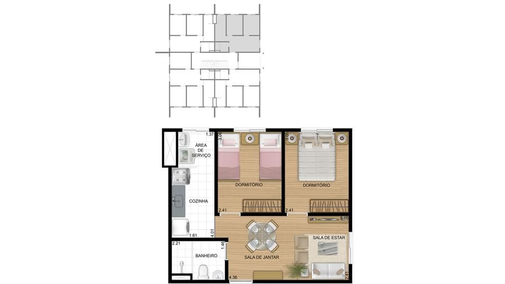 Planta baixa do Residencial Igara Life Apartamento Minha Casa Minha Vida | Tenda.com