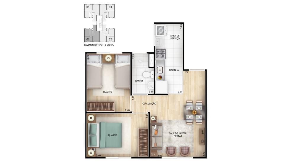 Planta de apartamento em Residencial Alto da Baviera | Canoas | RS | planta 1 | tenda.com