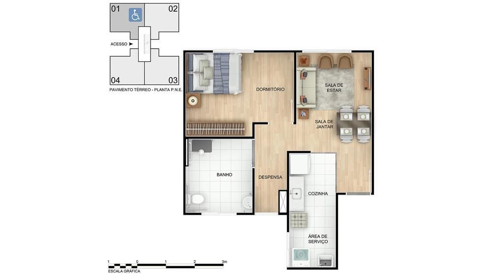 Planta baixa do Parque das Nações Apartamento Minha Casa Minha Vida | Tenda.com