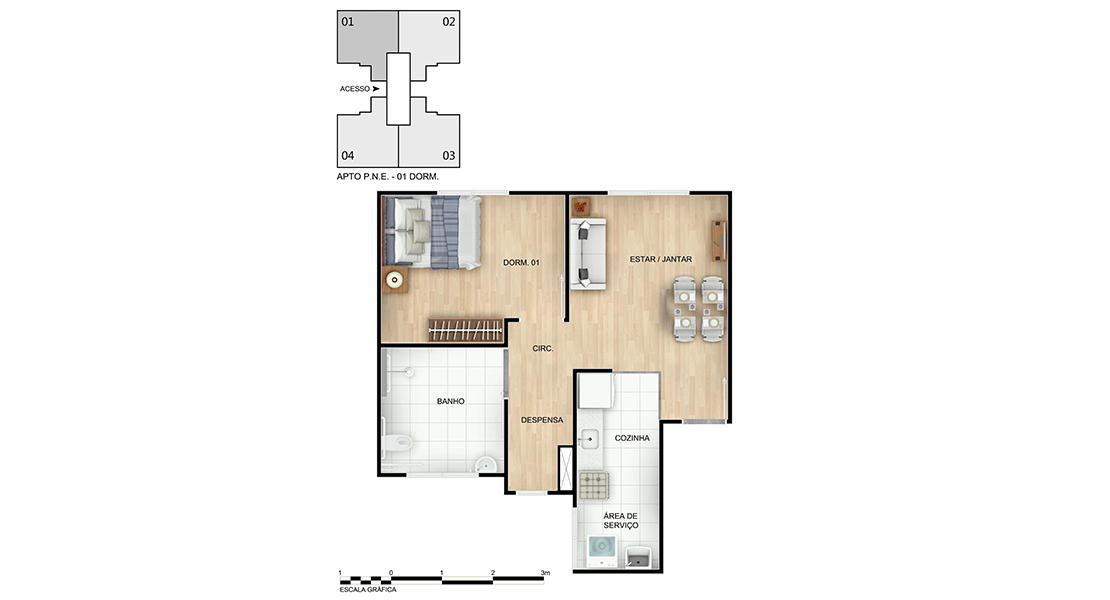 Planta baixa do Sol de Camarás - Condomínio I Apartamento Minha Casa Minha Vida | Tenda.com
