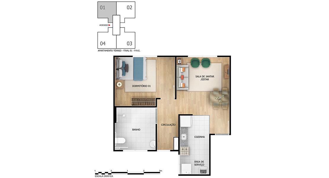 Planta de apartamento em Jardim Passaré | Fortaleza | CE | planta 1 | tenda.com
