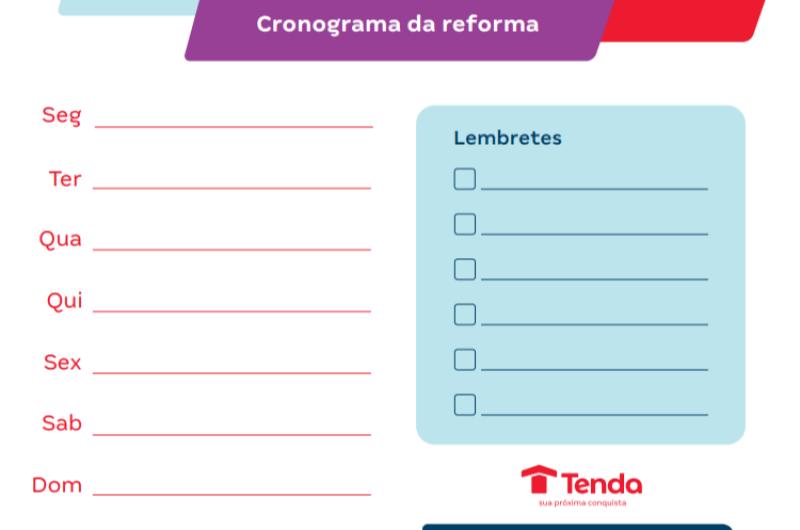 Cronograma da Reforma | Decoração | Blog da Tenda
