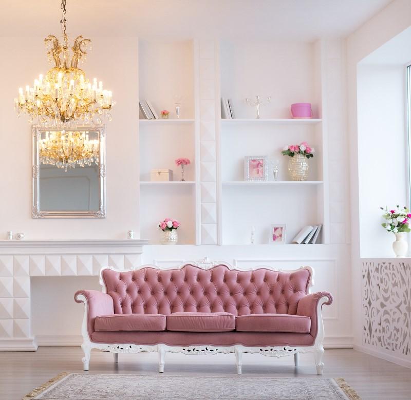 Sala de Estar Romântica com sofá em capitonê vintage   Blog da Tenda